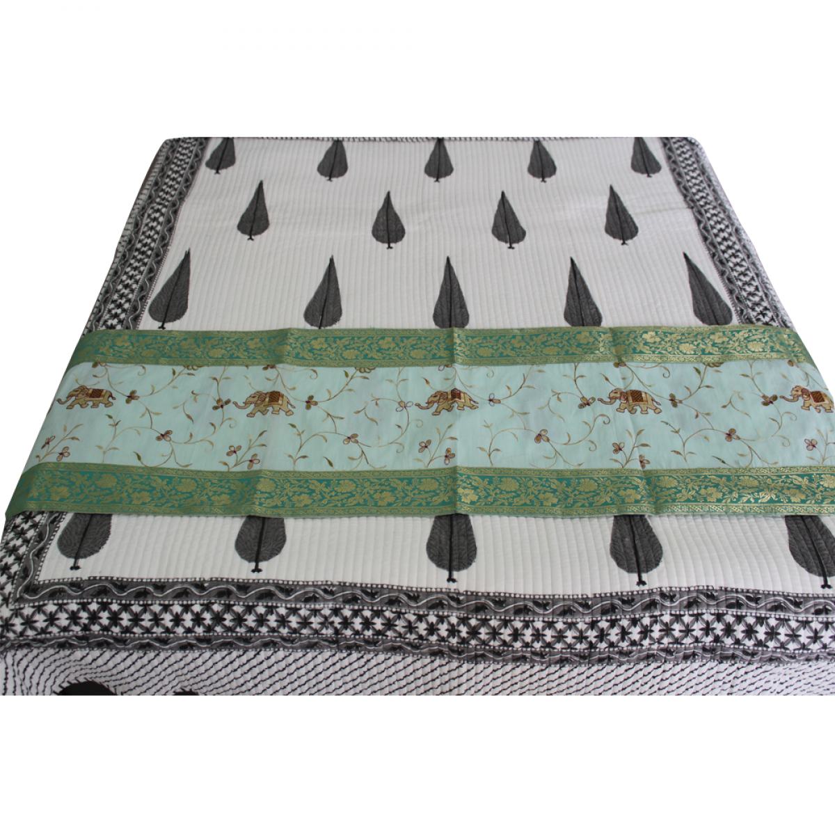 Embroidered Table Bed Runner Green