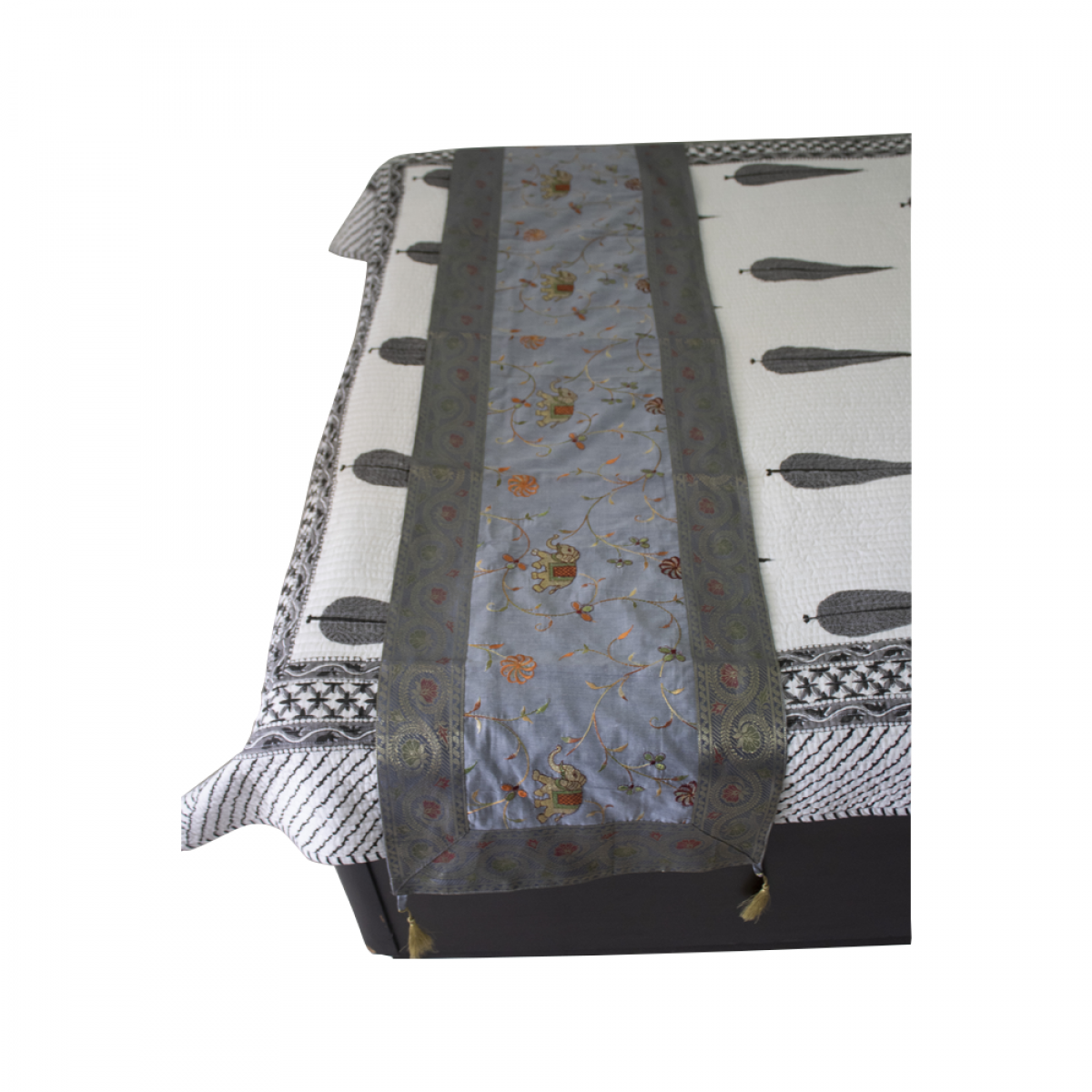 Embroidered Table Bed Runner Gray