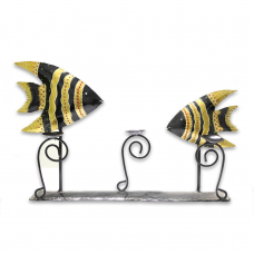 Golden-black Iron Candle Holder (fishes)
