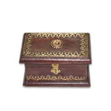 Wooden Box With Metal Carving
