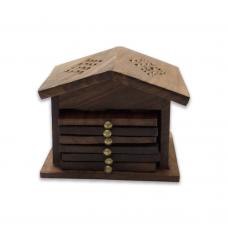 Hut-shaped Wooden Coaster