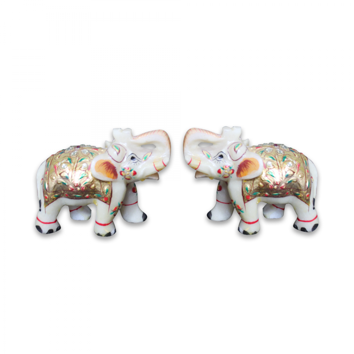 Marble Royal Elephant Pair With Meena Work High resolution a3 elephants png. indebazar
