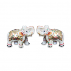Marble Royal Elephant Pair With Meena Work
