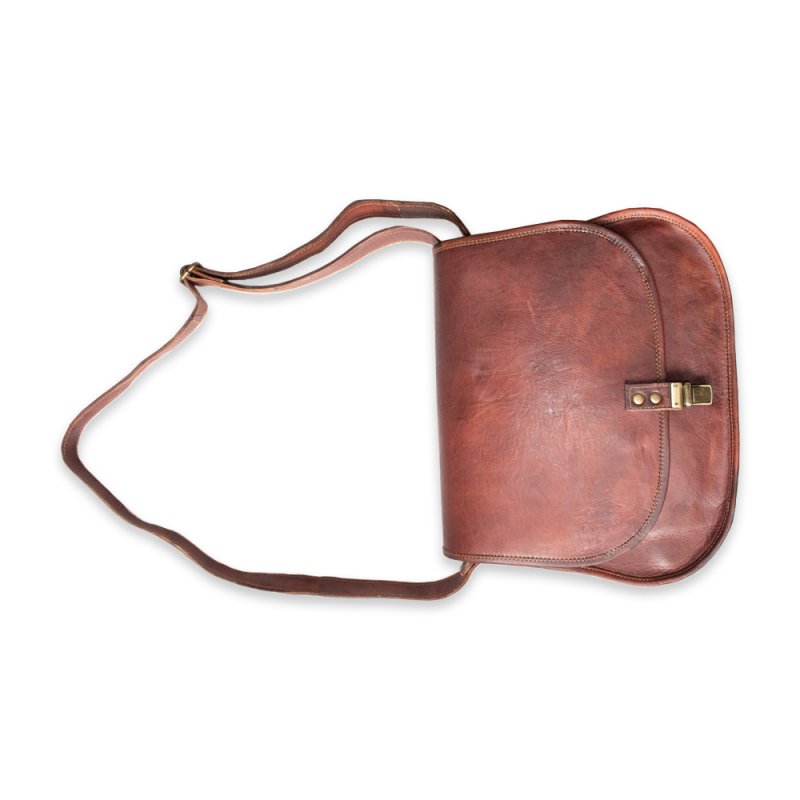 Leather Side Bag With Push Lock