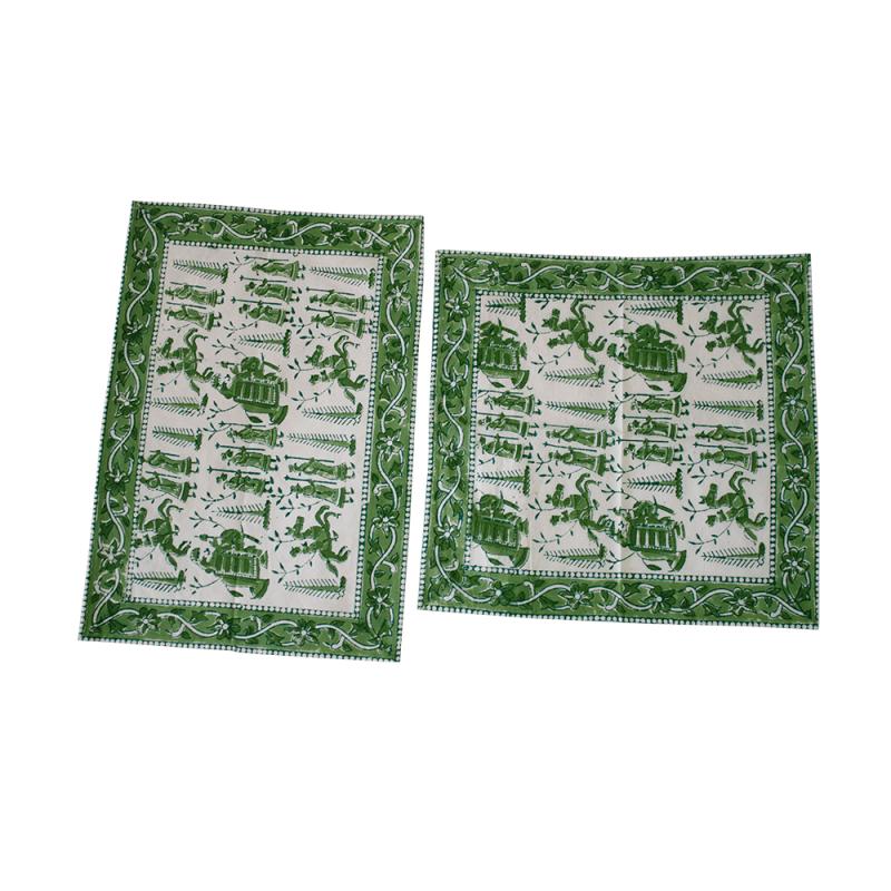 Hand-block Printed Table Mat Set Green (Pack Of 6)