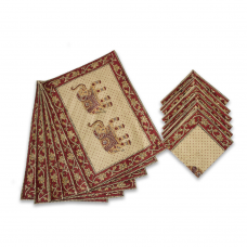 Hand-block Printed Table Mat Set Red (Pack Of 6)