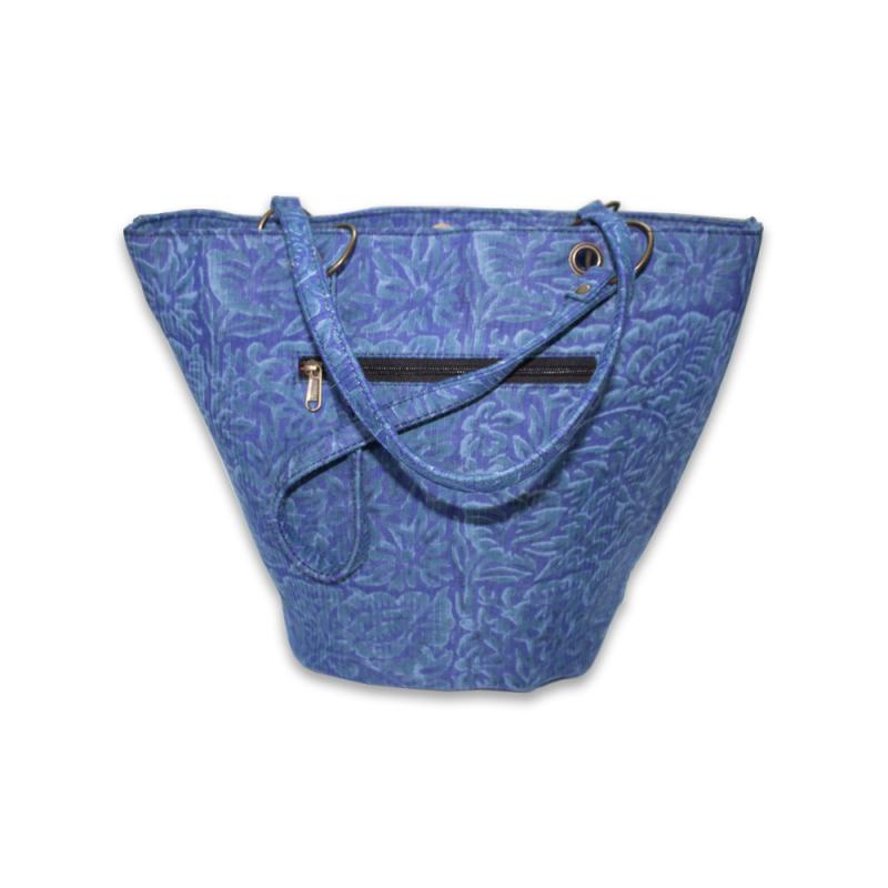 Hand-Block Printed Cotton Handbag (Blue)