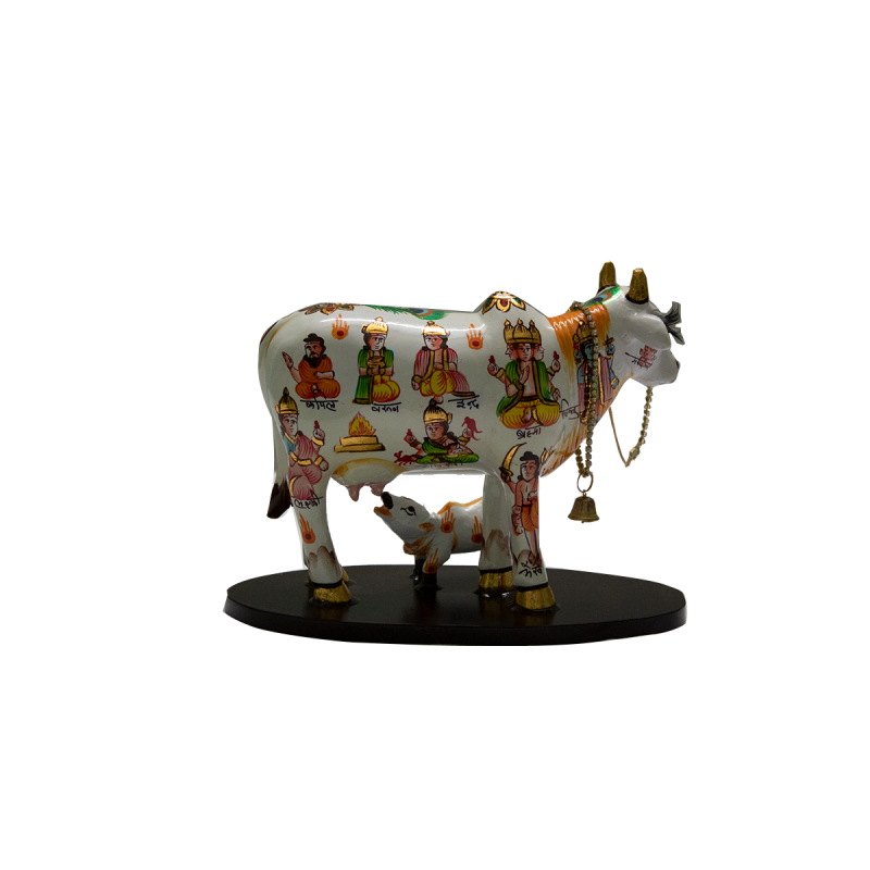 Embellished Kamdhenu (Holy) Cow With Calf