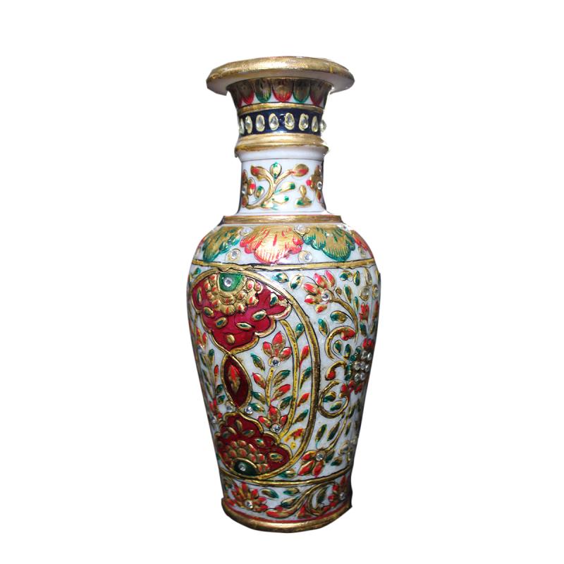 Marble Flower Vase With Meena Work